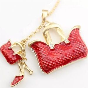 LONG RED GOLD & CZ HANDBAGS & STILETTO  NECKLACE